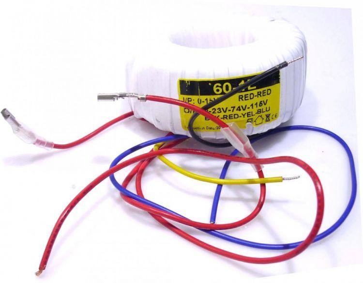 Ringkerntrafo Sec.: 0-23-74-115V Pri.: 15V (60-1L) MP-60