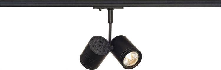 SLV BIMA II Leuchtenkopf, schwarz, 2xGU10, max. 50W, inkl. 1P.-Adapter