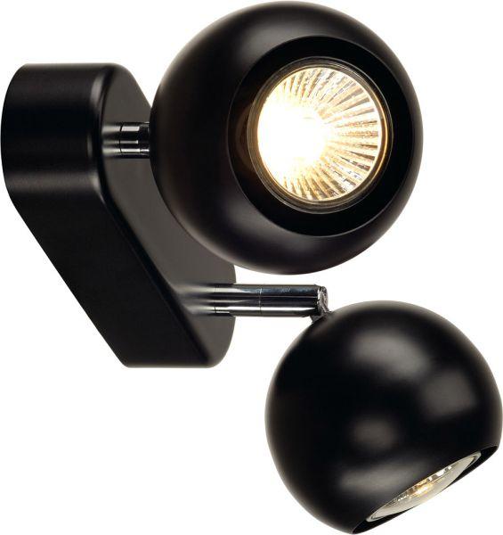 LIGHT EYE 2 GU10 Wand- und Deckenleuchte, schwarz/ chrom, GU10, max. 2x50W