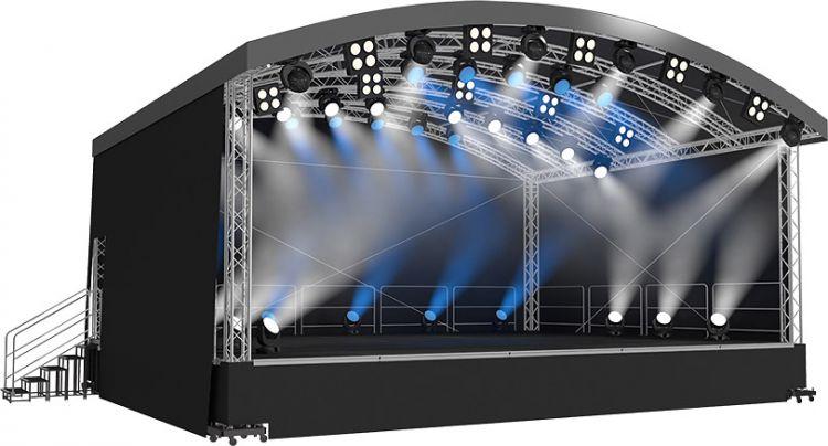 Naxpro-Truss Rundbogendach-Bühne AR06 - 6,00 x 3,98/4,60  x 4,19 m (BxLxH)