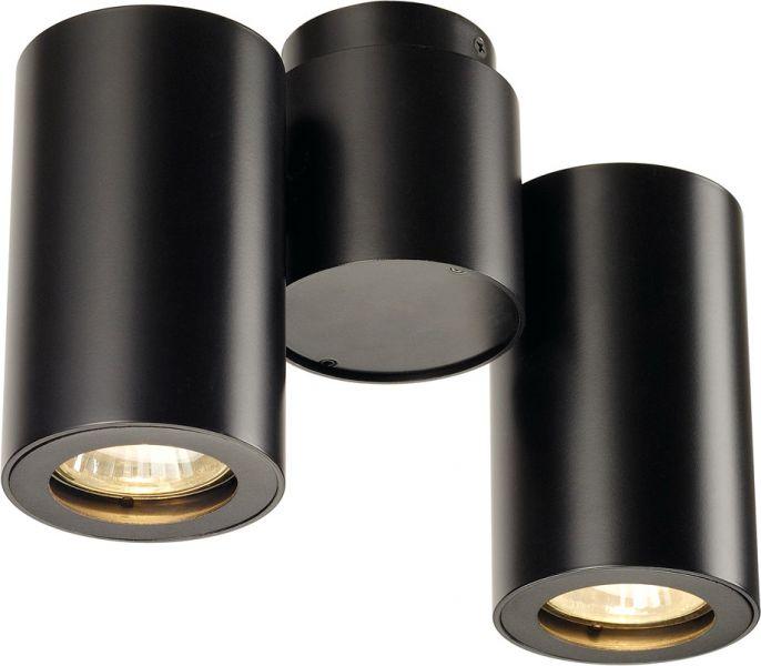 SLV ENOLA_B Wand- Deckenleuchte, zweiflammig, QPAR51, schwarz, max. 100 W