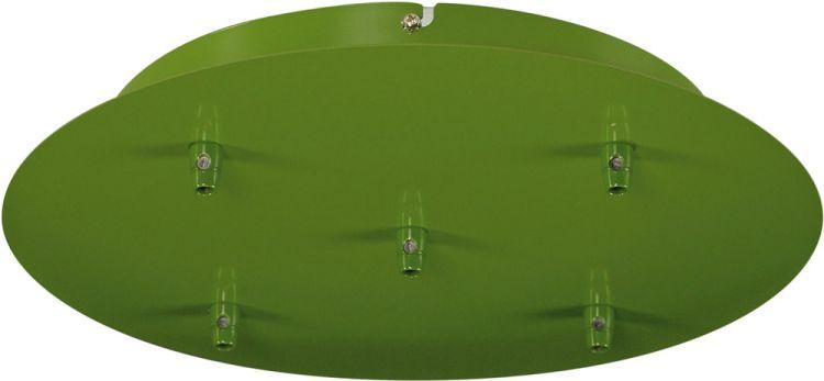 SLV Deckenrosette, 5 Ausgänge, rund, farngrün, inkl. Zugentlastungen
