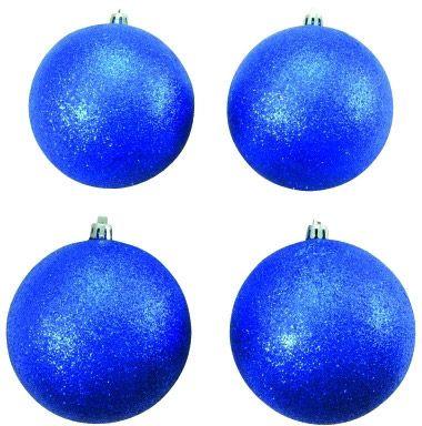 AlphaPlan-Artikel: EUROPALMS Dekokugel 10cm, blau, glitzer 4x