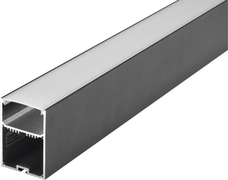 SLV GLENOS Profi-Profil 4970, mit Cover, schwarz matt, 1 m